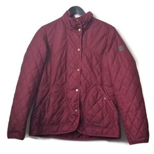 Eddie Bauer womans quilted burgundy snap up coat